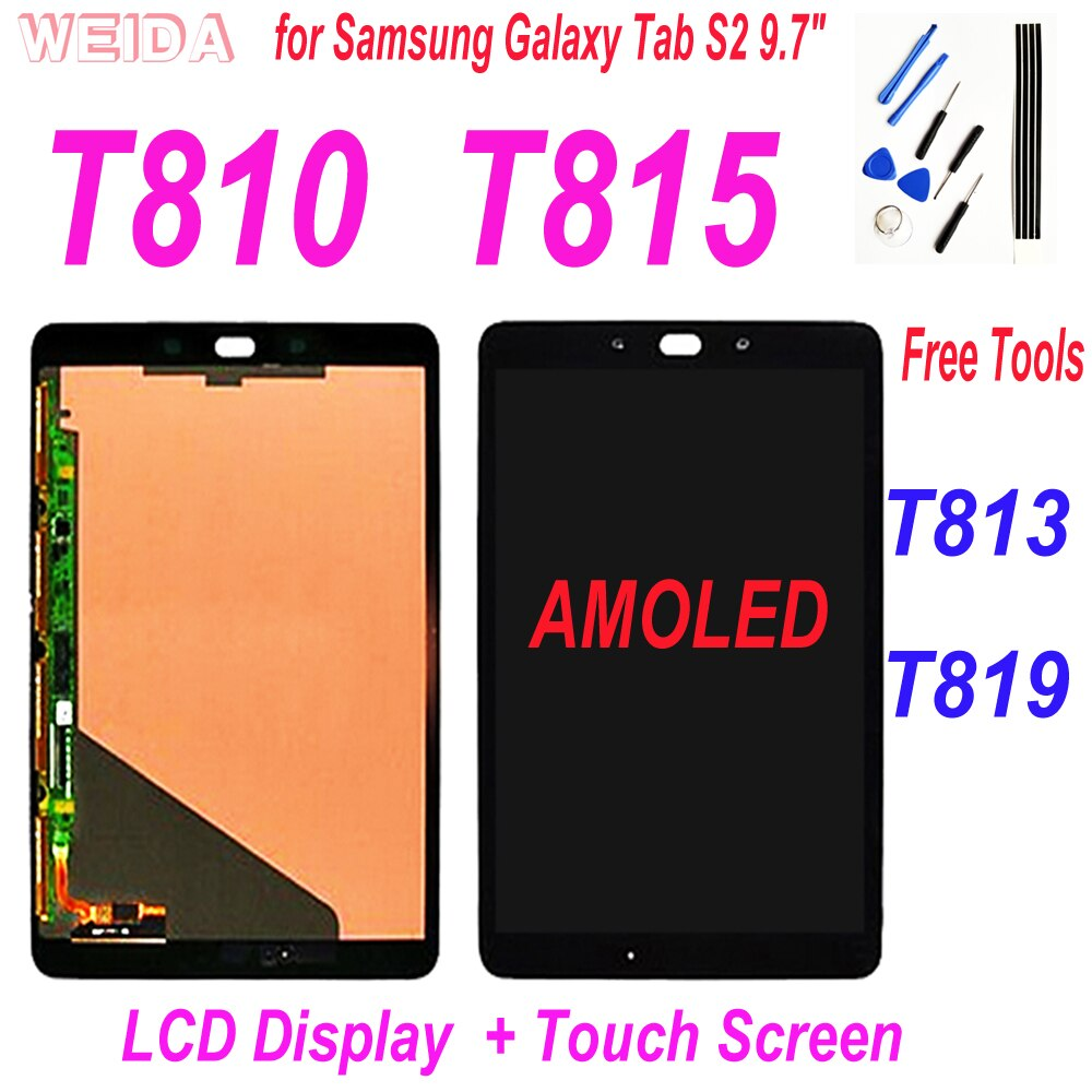 9.7 AAA+ Super AMOLED LCD for Samsung Galaxy Tab S2 T810 T813 T815 T819 LCD Display Touch Screen Digitizer Assembly Replacement