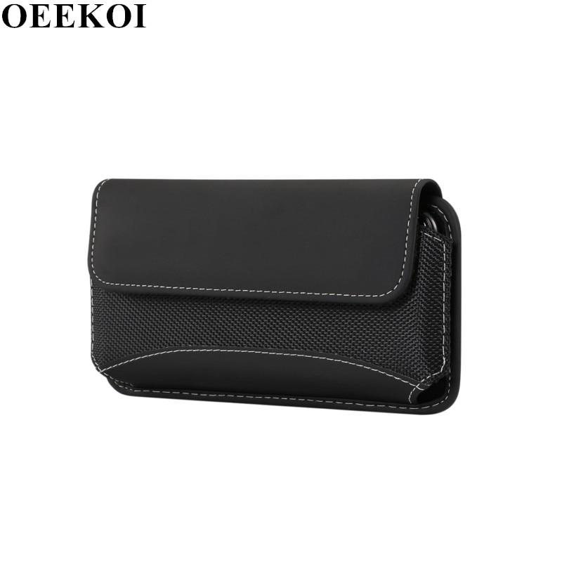 OEEKOI Universal duradero paño de Oxford Clip de cinturón bolsa caso para LG Phoenix Plus/V35 ThinQ/Premier Pro/ k30/G7 ThinQ/K11/K10 2018