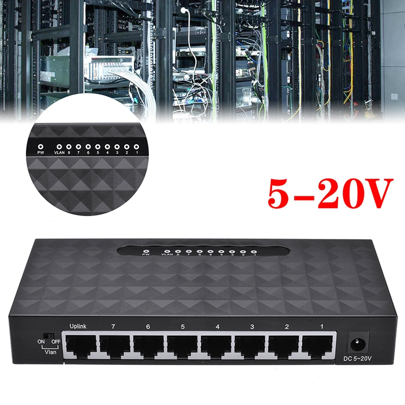Pohiks-شبكة جيجابت مع محول طاقة ، 8 منافذ Lan Hub ، محول إيثرنت ، فاصل كابل الشبكة 10 / 100 / 1000 Mbps RJ45