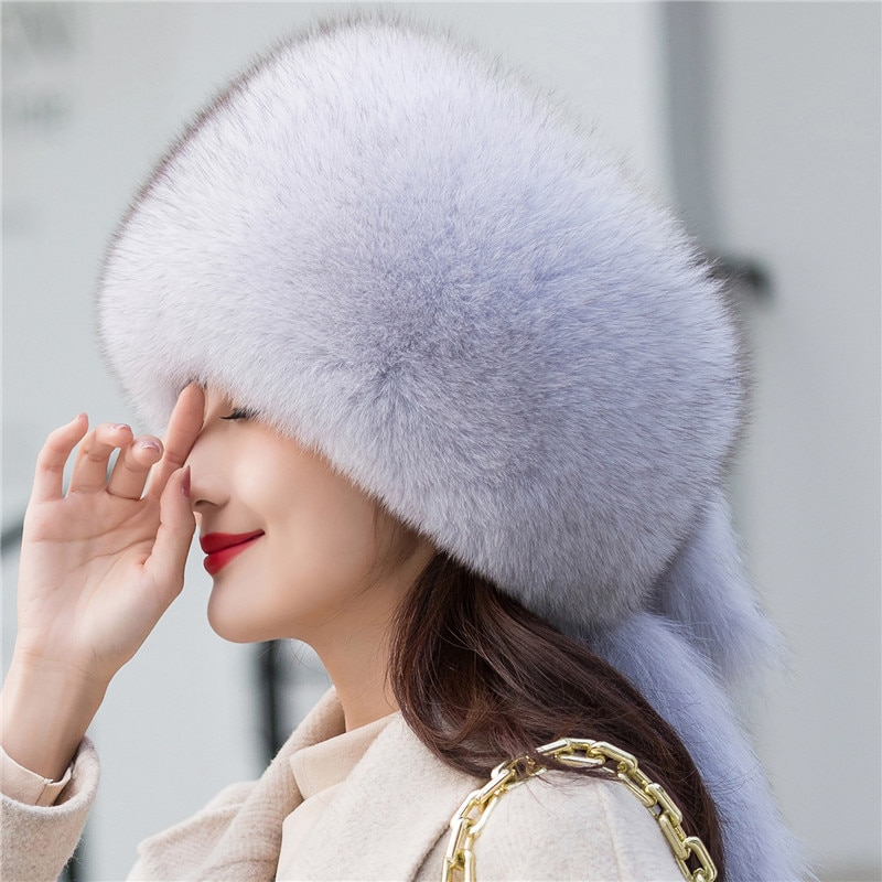 2021 New Natural Fox Fur Russian Hat Ladies Winter Warm Fluffy Popular Style Female Tail Hat Fashionable Leather Straw Hat