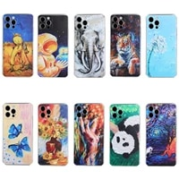 body oil painting style octagonal straight edge tpu for samsung note8 note9 note10 note20 note10 pro note20 ultra