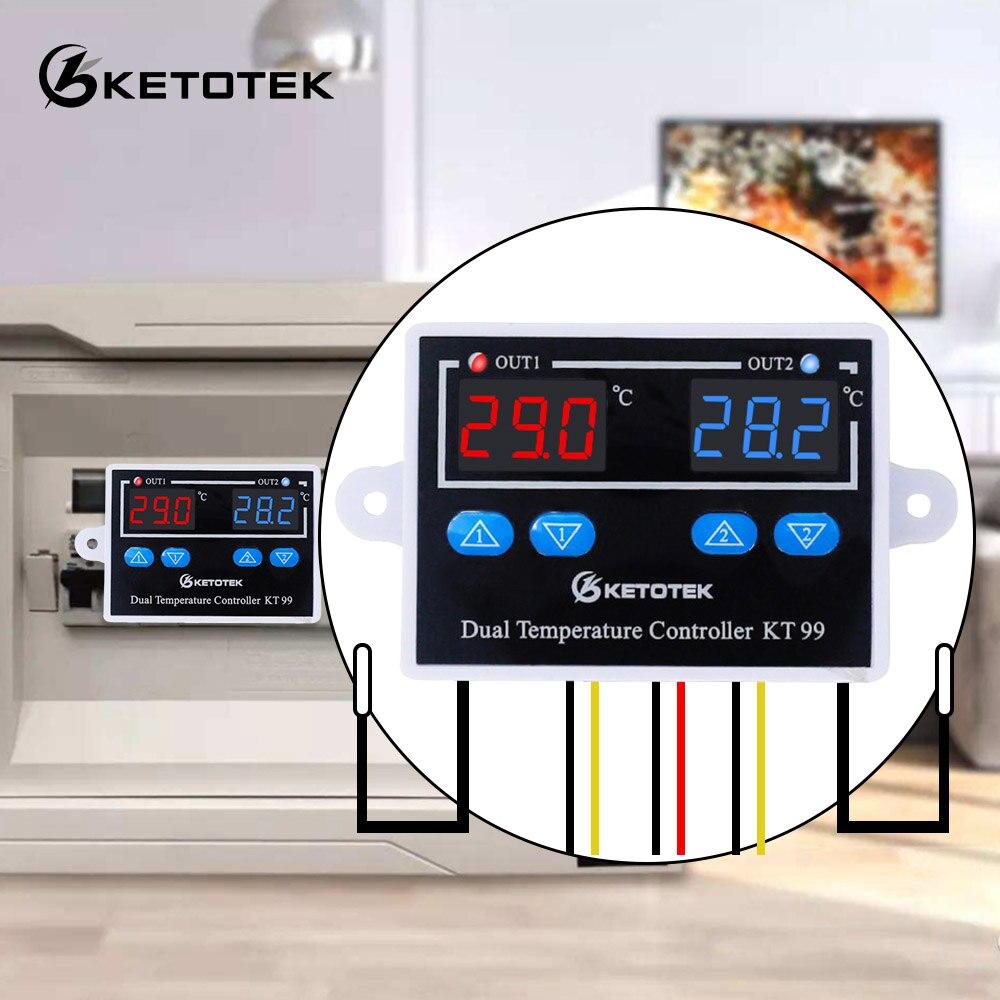 Régulateur de Thermostat numérique KT99 AC 220V 12V 24V 10A sortie directe micro-ordinateur régulateur de température commutateur capteur NTC/K