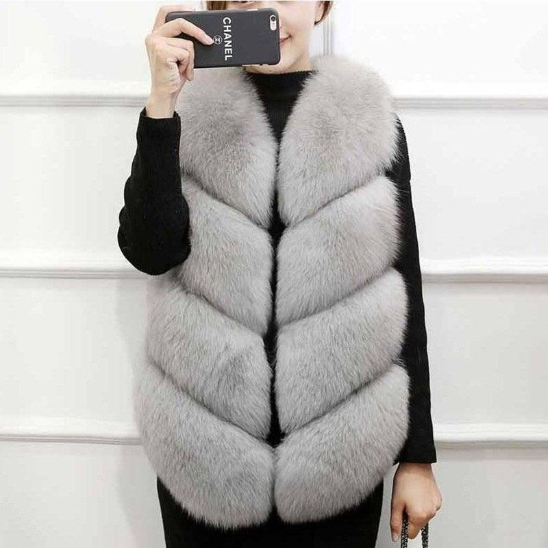 2020 Vintage Jacket Faux Fur Coat Women Winter Elegant Furry Warm Vest Sleeveless Black Gray Gilet Female Office Plush Fur Coat