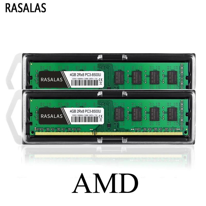 Rasalas Memoria RAM DDR3 8G 4G para computadoras de escritorio AMD 8500MHz...