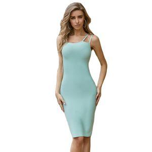 Vestidos Bandage New Arrivals Aqua Blue Spaghetti Strap Summer Sexy Women Bandage Dress Bodycon Clubwear Party