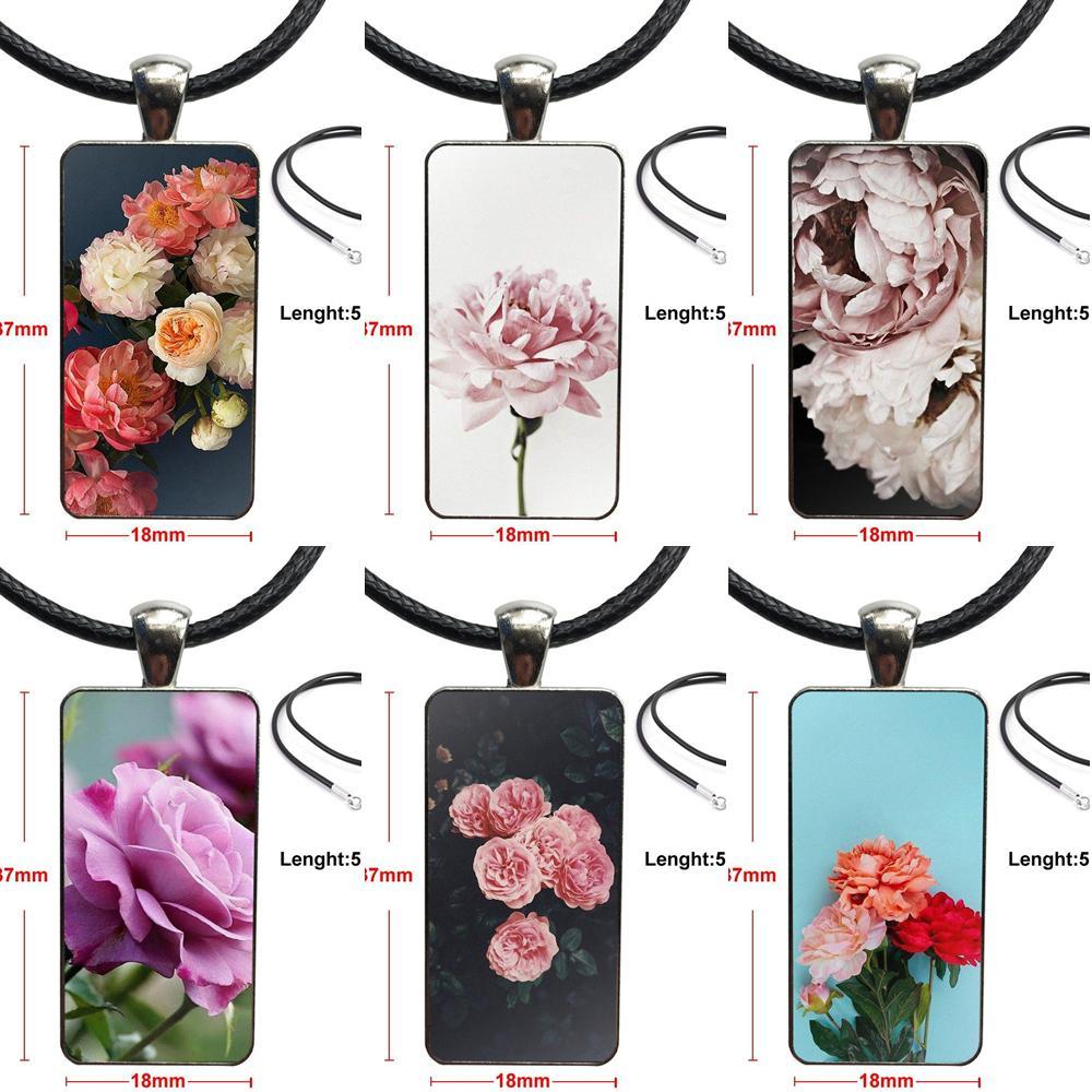 Collar de moda cadena larga con collar con dije de rectángulo joyería para hombres mujeres flor fotografía peonías botánica