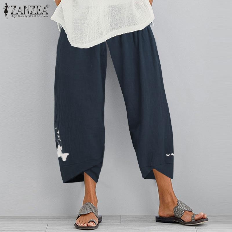 Vintage Cotton Harem Pants Womens Printed Trousers ZANZEA 2020 Casual Elastic Waist Pantalon Female Autumn Turnip Plus Size 5XL