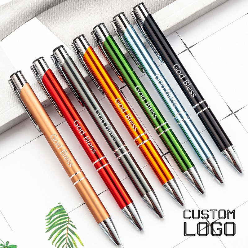 5pcs Laser Engraved LOGO Ballpoint Pen New Personality GIft Customized FREE With Your Text School Office Supplies