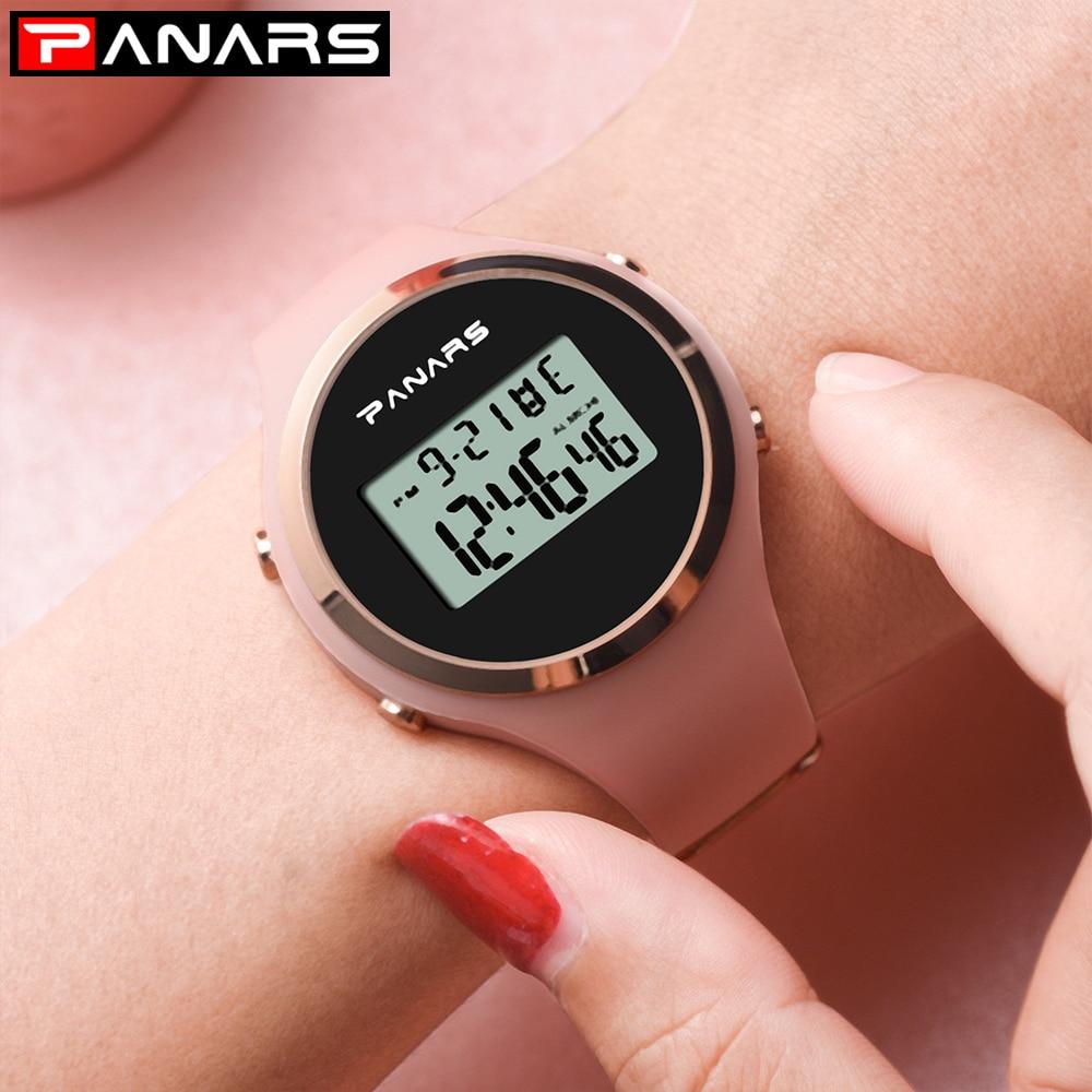 De las mujeres de la moda deportes relojes digitales 5bar correa de silicona impermeable reloj alarma luminosa señoras reloj Relogio femenino