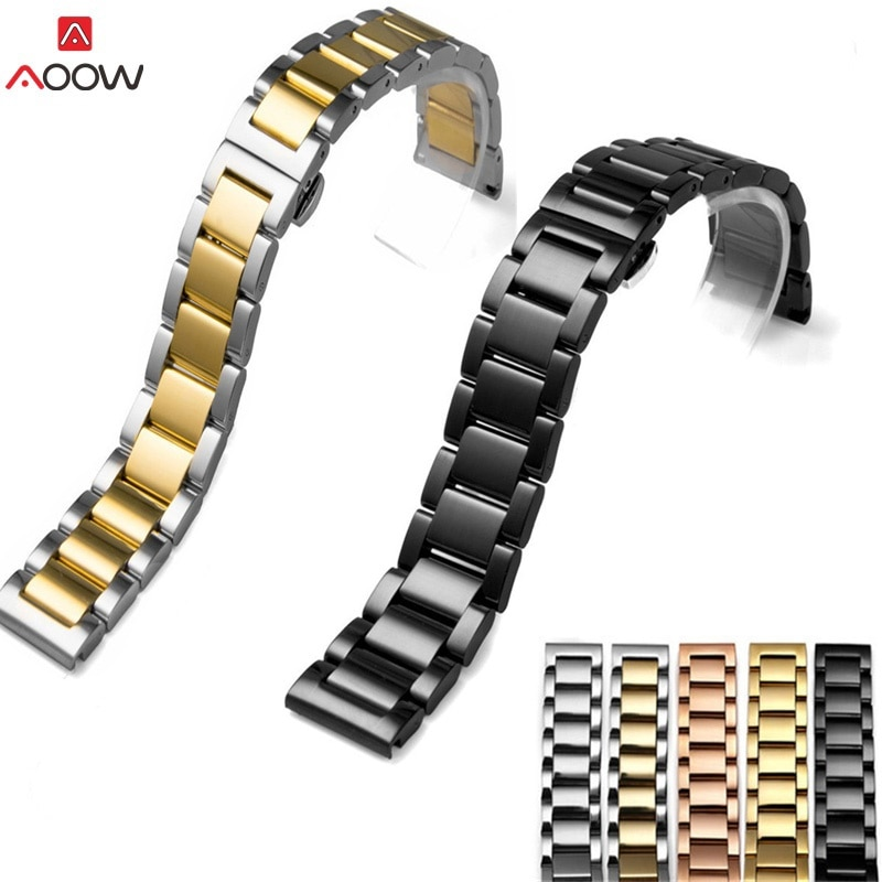 Luxurious Stainless Steel Watch Strap Bracelet Black Silver Rose Gold Wristband Butterfly Buckle 16mm 18mm 20mm 22mm 24mm 26mm