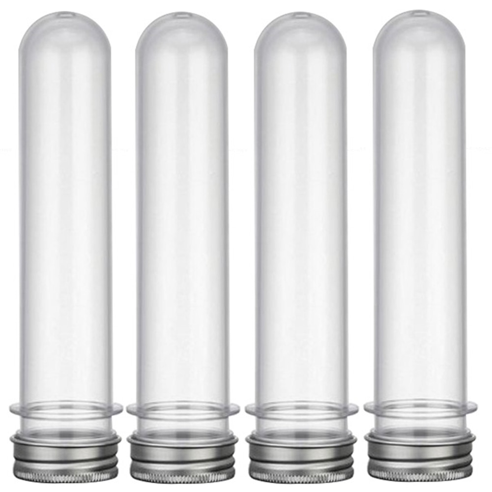 Tubo de prueba de tuercas de plástico transparente para laboratorio, Cable USB, tapa de caramelo, botella multiusos, 45ml, 10 Uds