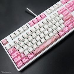 104 chaves pbt rosa sakura padrão keycaps substituição conjunto teclado acessório