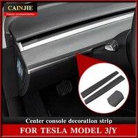 for tesla model 3 2021 accessories center console decorative stickers model y carbon fibre abs model3 decorative stickers