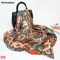 retro soft silk scarf cashew flowers print lady designer shawls women scarves ladies accessories summer beach sunscreen bandana