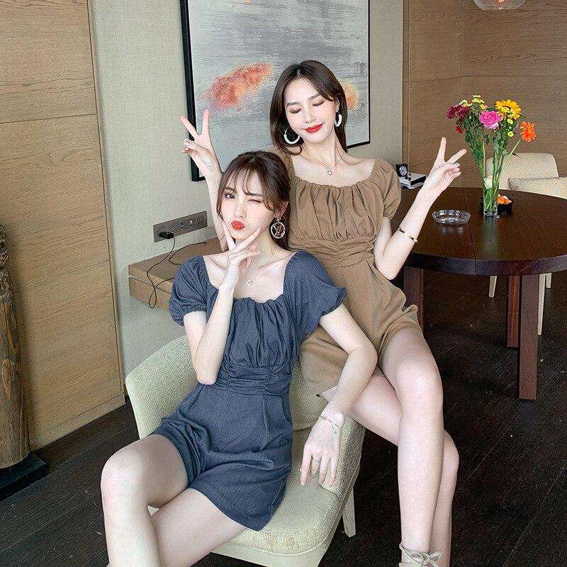Summer 2020 New Small Girlfriends' Pleated Design High Waist Closed Waist Wide Leg Short Off Shoulder Foam Sleeve Jumpsuit