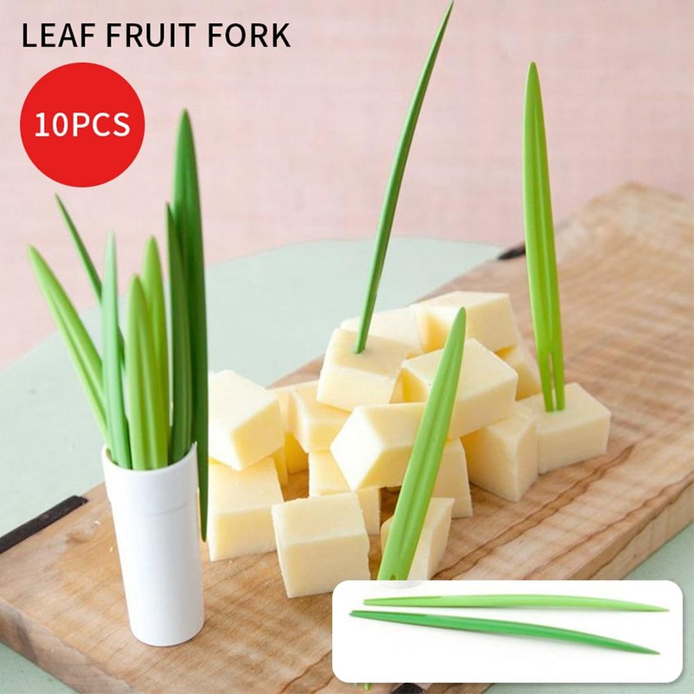 10Pcs/Set Creative Green Bamboo Leaf Fruit Fork Chopsticks Cocktail Wedding Party Festival Birthday