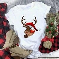 women fashion new cute reindeer wear christmas hat t shirt christmas white tops harajuku short sleeve clothing