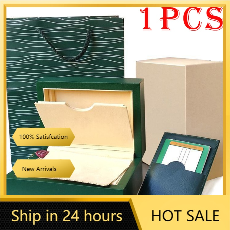 Rolexables نوعية جيدة صندوق ساعة أخضر صغير مع بطاقات الأوراق والحقائب صندوق ساعة أخضر aaa