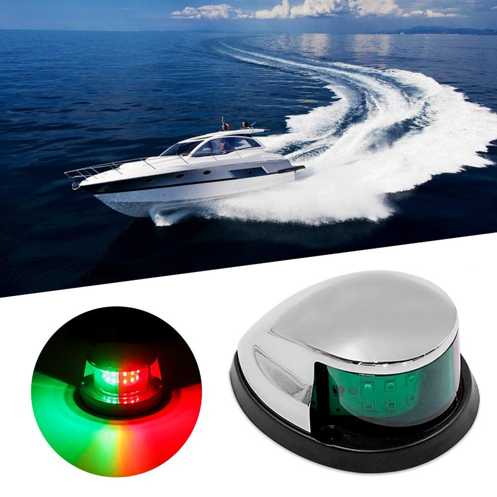 Red  Green Stainless Steel 12V LED Bow Navigation Light Red Green Sailing Signal Light for Marine For Boat Yacht Warning Light