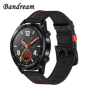 Double Color Genuine Leather Watchband for Huawei Watch GT / GT Active / GT Elegant Quick Release Band Wrist Strap Bracelet