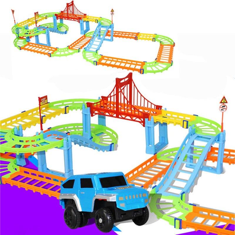 Coche de carreras eléctrico DIY para niños, modelo de pista de tren...