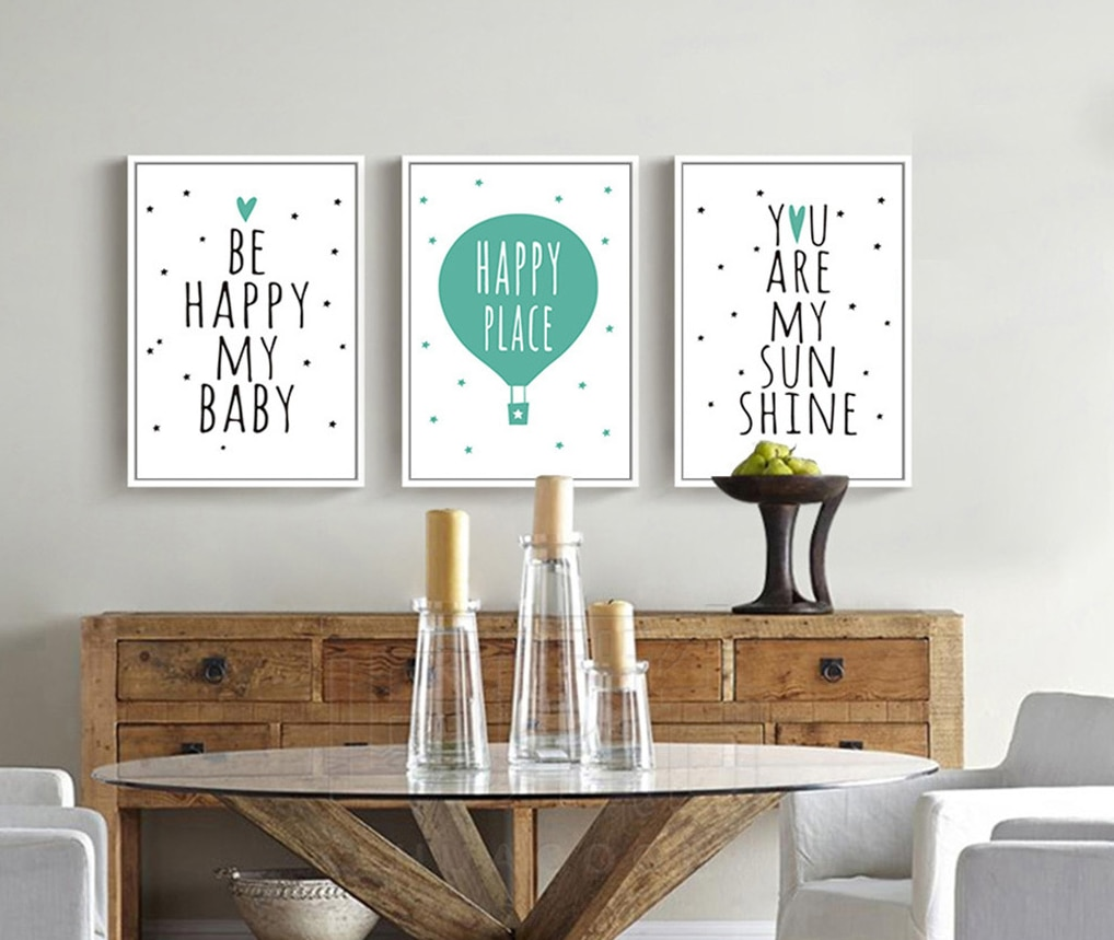 Nursery Quotes Balloon Art Canvas Poster Print Minimalist Painting Cartoon Picture Nordic Baby Kids Bedroom Wall Decoration