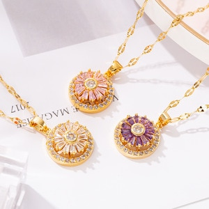Popular Rotating Necklace Women's Full Rhinestone Zircon Good Luck Comes Pendant Clavicle Chain Fashion wholesale