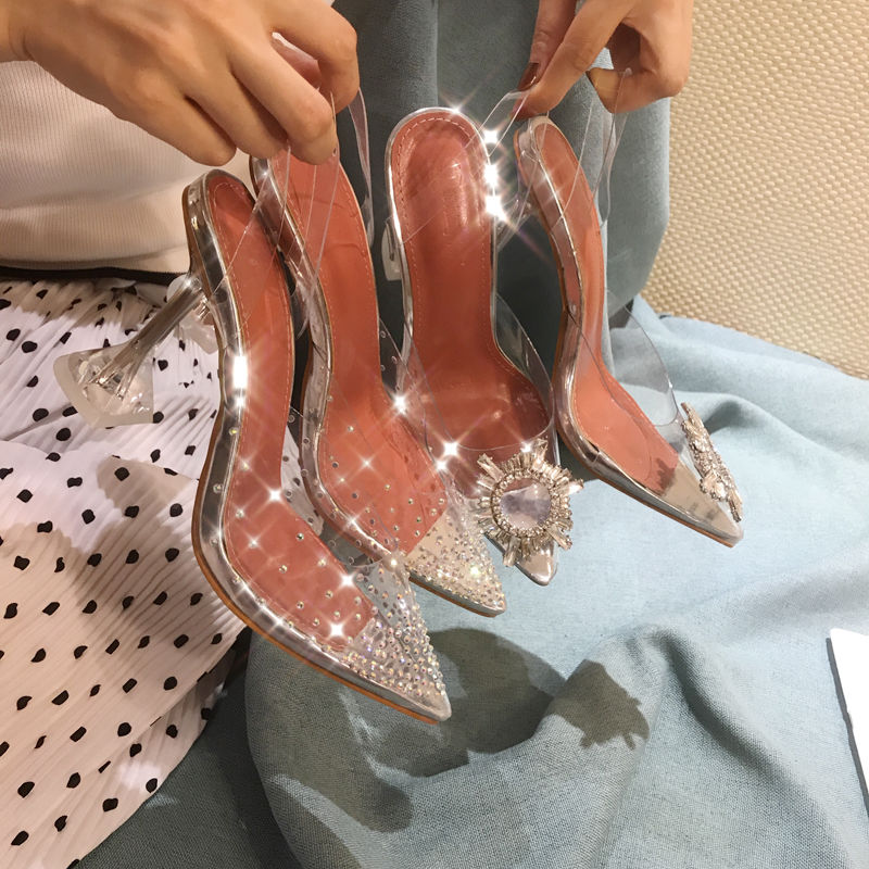 Summer Women Sandals Crystay Jelly Slippers High Heels Pumps Sexy Shining Transparent Women Slippers