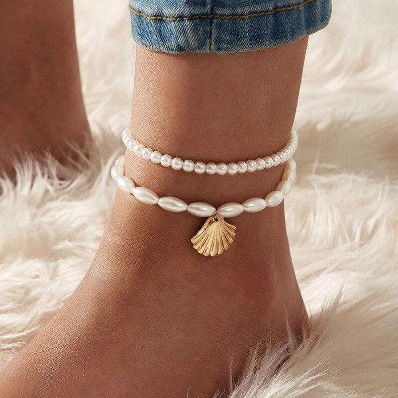 2 pièces/ensemble neuf Imitation perle chaîne bracelets de cheville pour femmes bohème or coquille pétoncle pendentif élégant cheville en Bracelet pied bijoux