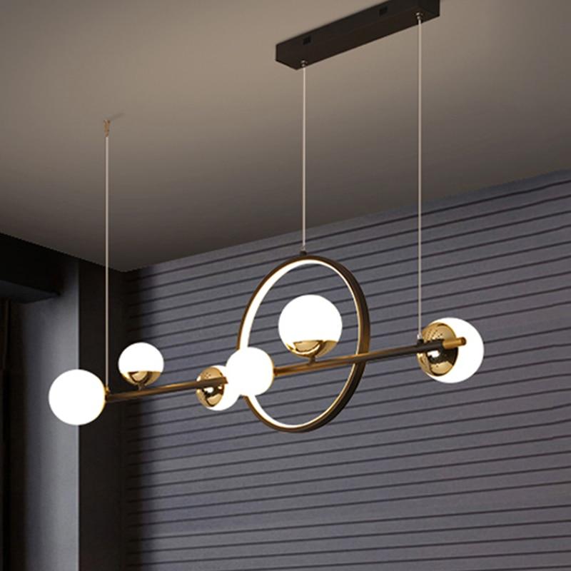 Светодиодный ные люстры, Светильники для гостиной, столовой, кухни, подвесное Освещение для дома, черные современные подвесные лампы для по...