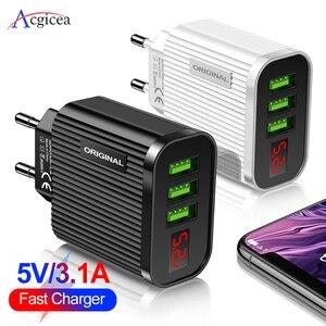 LED 3 дисплея USB зарядное устройство для Samsung S20 Смарт Быстрая зарядка мобильный телефон зарядное устройство для iPhone 11 Xiaomi Huawei EU US вилка Max 3A