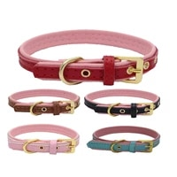 soft double layers leather pet dog collars adjustable puppy cats leash harness collars for small medium dogs