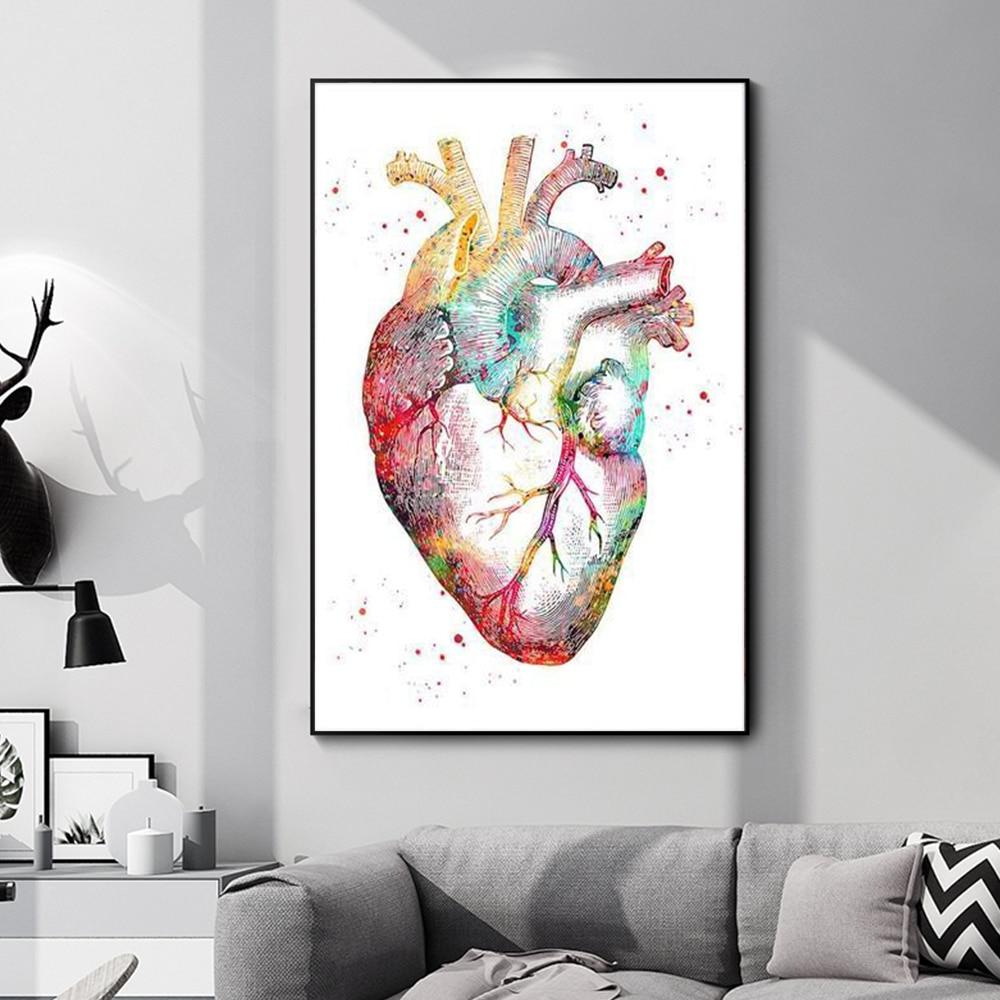 Система анатомии человека, мышцы, сердце, цветное настенное искусство, холст, живопись, постеры и тело, абстрактные картины, скелет, Декор дл...