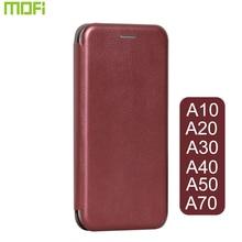 Samsung A50 kılıf kapak çevirin Mofi Samsung A30 kılıf kitap stil kapak A10 A20 A30 A40 A70 kapak siyah şarap kırmızı derin altın