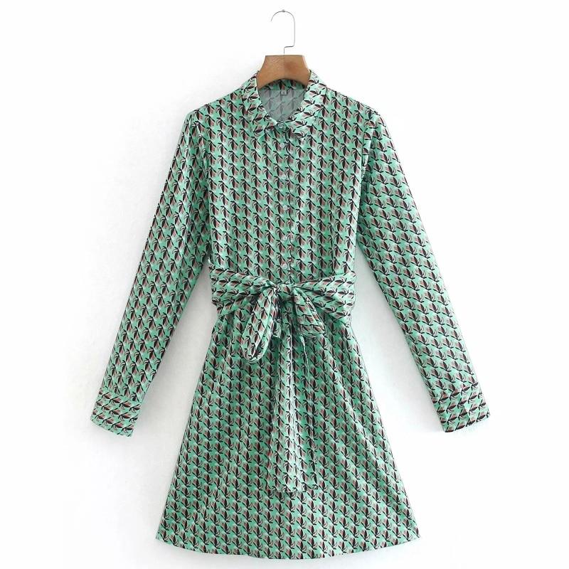 فستان قميص نسائي بأكمام طويلة ، ملابس غير رسمية ، فضفاض ، مع طباعة رقمية ، D6875