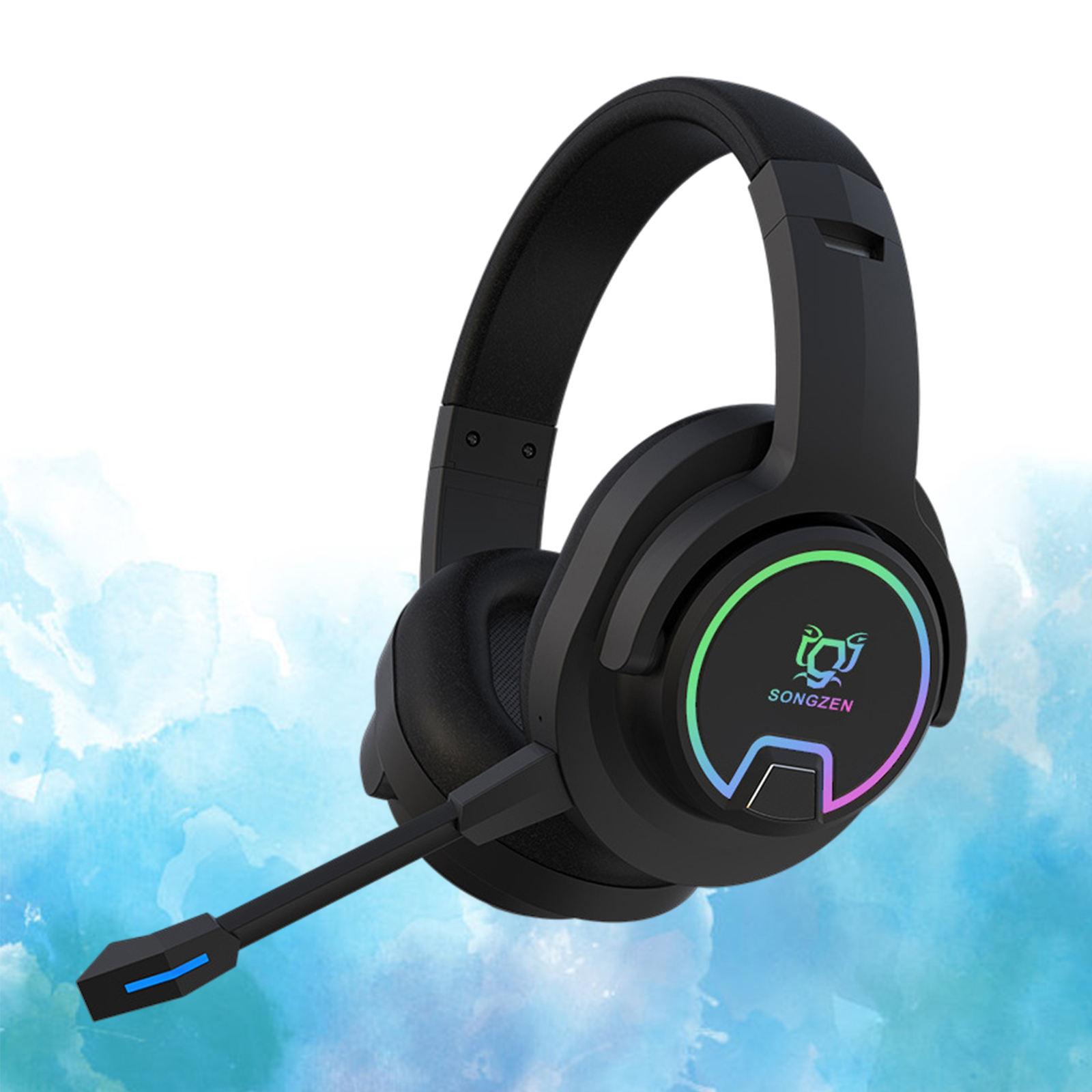 RGB سماعة لاسلكية تعمل بالبلوتوث سماعة الألعاب سماعات ستيريو فوق الأذن للاعبين-أسود