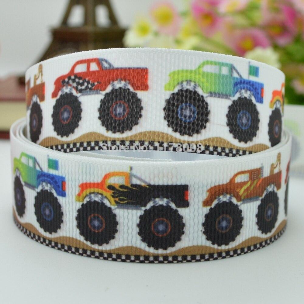 """7/8 """"22mm camión niño cinta impresa grogrén cinta hai rbow DIY hecho a mano al por mayor OEM 50YD"""