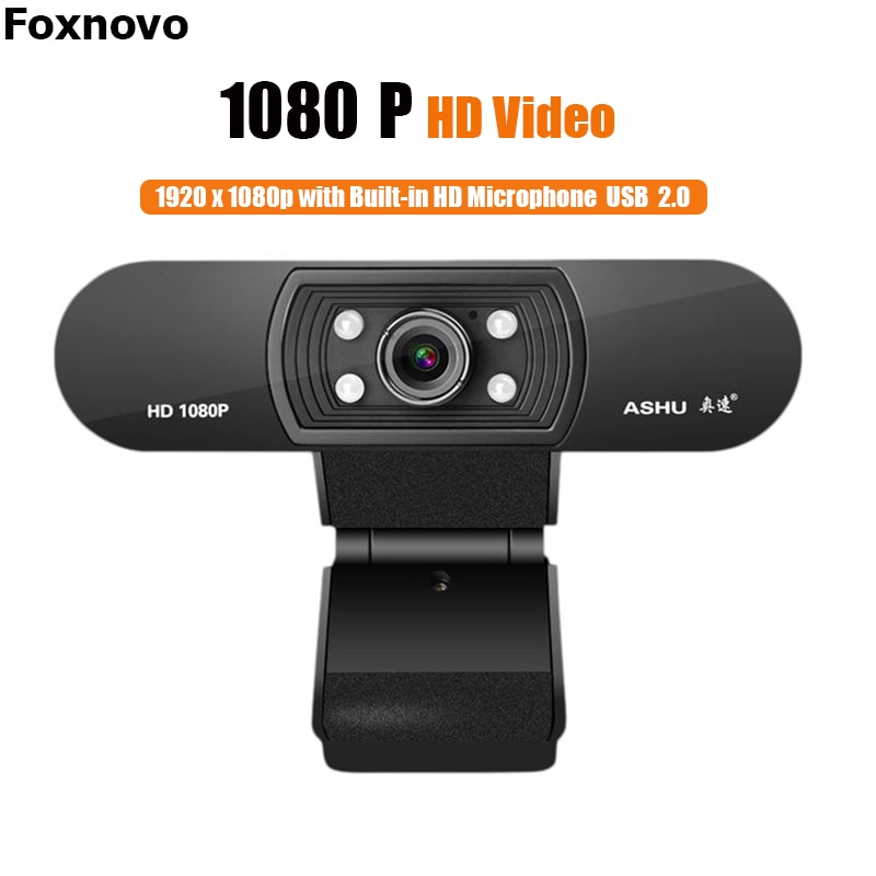 Foxnovo 1080P Webcam UHDWeb Camera with Built-in HD Microphone 1920 x 1080p USB Web Cam Widescreen Video