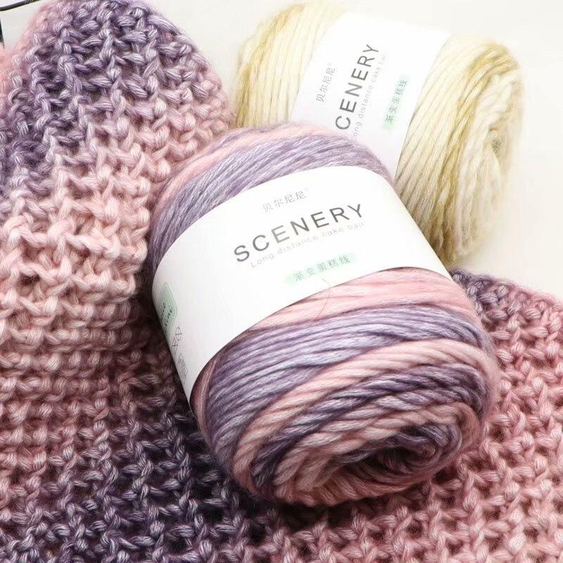 Мериносовая пряжа, камвольная пряжа из натуральной шерсти для вязания, свитер, одеяло, пряжа для вязания крючком, меланжевая, 100 г/шт.