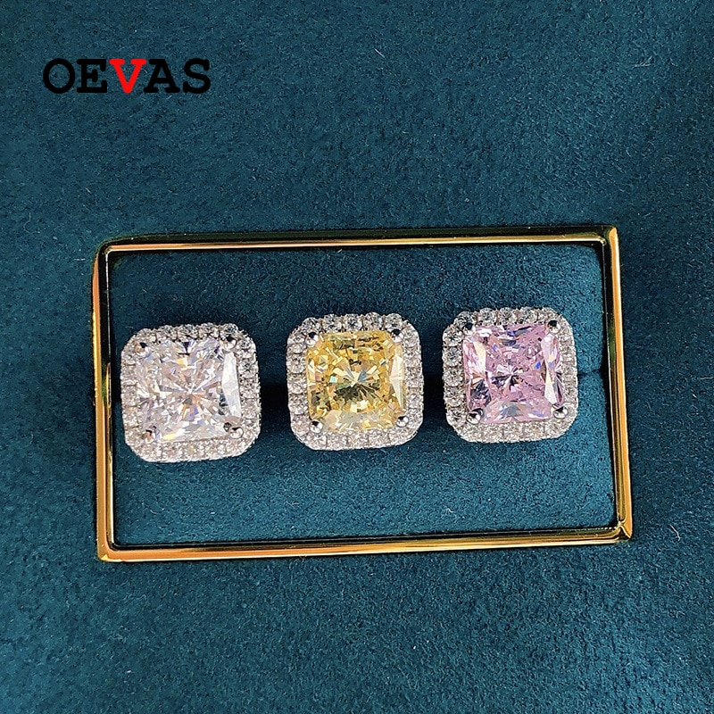 OEVAS 100% 925 فضة 7*7 مللي متر الوردي الأصفر عالية الكربون الماس وأقراط للنساء تألق الزفاف غرامة مجوهرات هدية