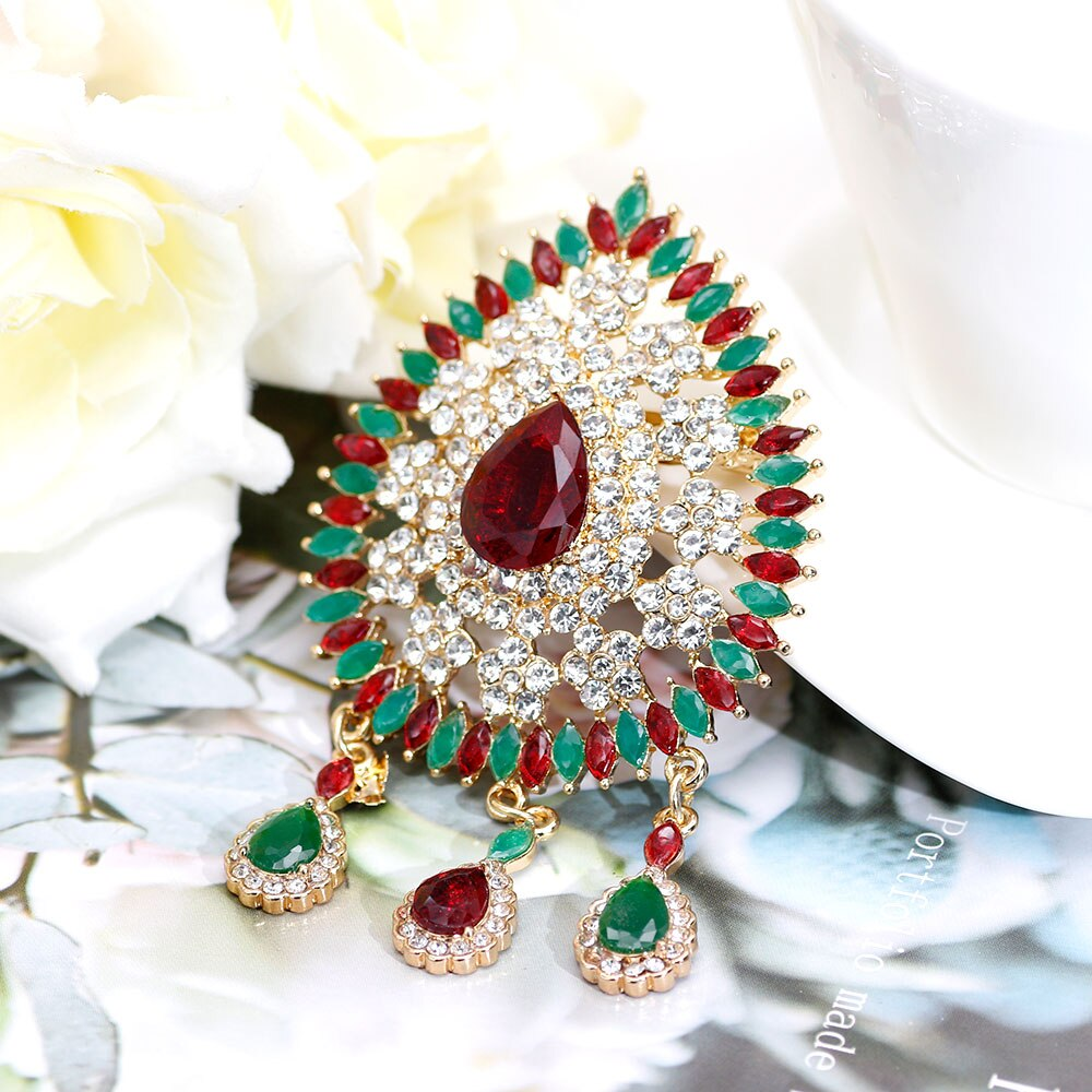 Sunspicems, broche marroquí de caftán de diamantes de imitación, broche para mujer, Color dorado, rojo, verde, cristal, Broches, Broches, regalo de joyería de boda