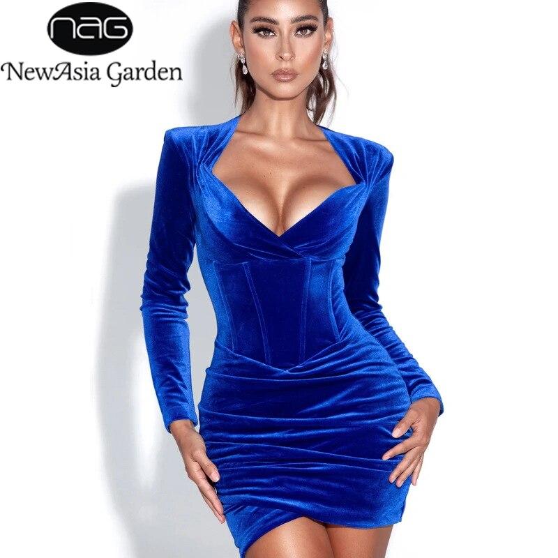 NewAsia-فستان أزرق مخملي ، أكمام طويلة ، ضيق ، خصر مرتفع ، مثير ، ملابس سهرة ، مجموعة خريف 2020