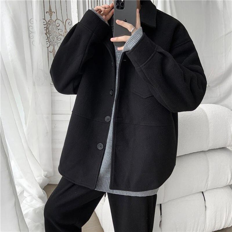 الكورية التلبيب الصوف سترة الرجال فضفاضة معطف قصير 2021 الخريف الشتاء سماكة القمم موضة ملابس كاجوال للذكور سترة جديدة