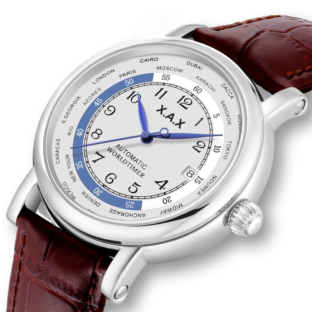 ساعات رجالي أوتوماتيكية من worldالموقت ساعة يد ميكانيكية من الفولاذ المقاوم للصدأ ذات الرياح الذاتية مقاومة للمياه حجم كبير