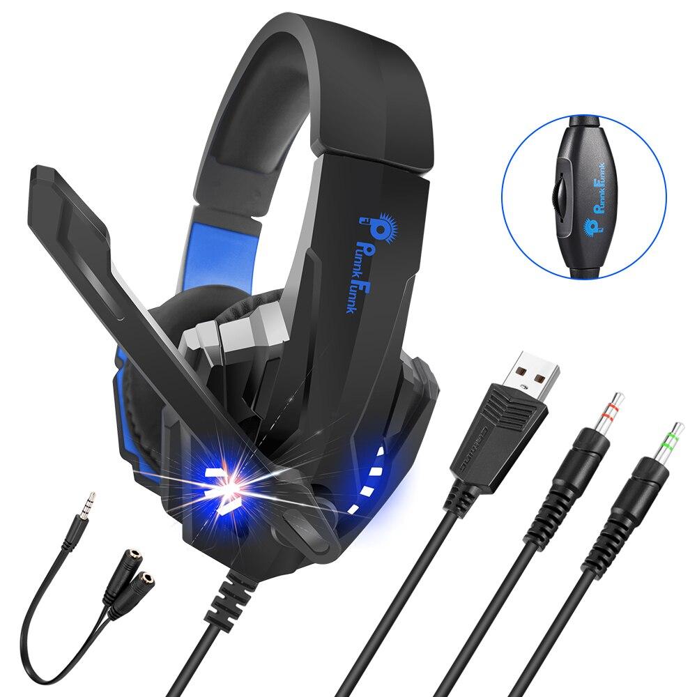 المهنية الألعاب سماعة سلكية مصباح ليد باس ستيريو الحد من الضوضاء ألعاب سماعات ل PS4 PS5 Xbox كمبيوتر محمول سماعة Mic