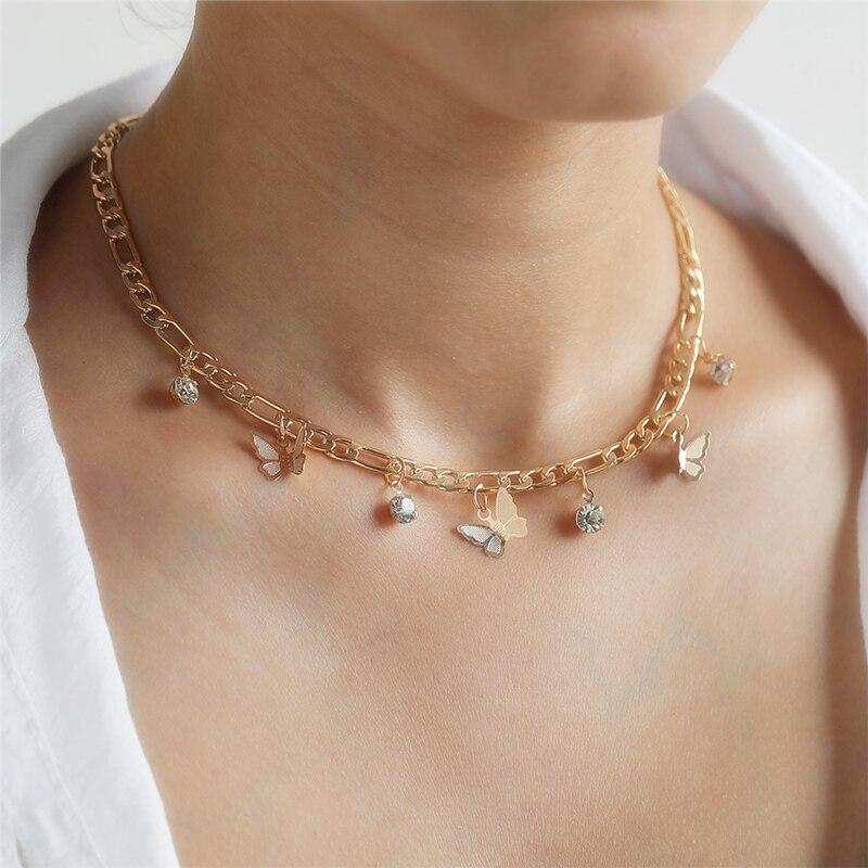 Delicado collar gargantilla de mariposa para mujer, collar de cadena de mariposa de oro, brillantes diamantes de imitación, colgantes, collar, joyería femenina