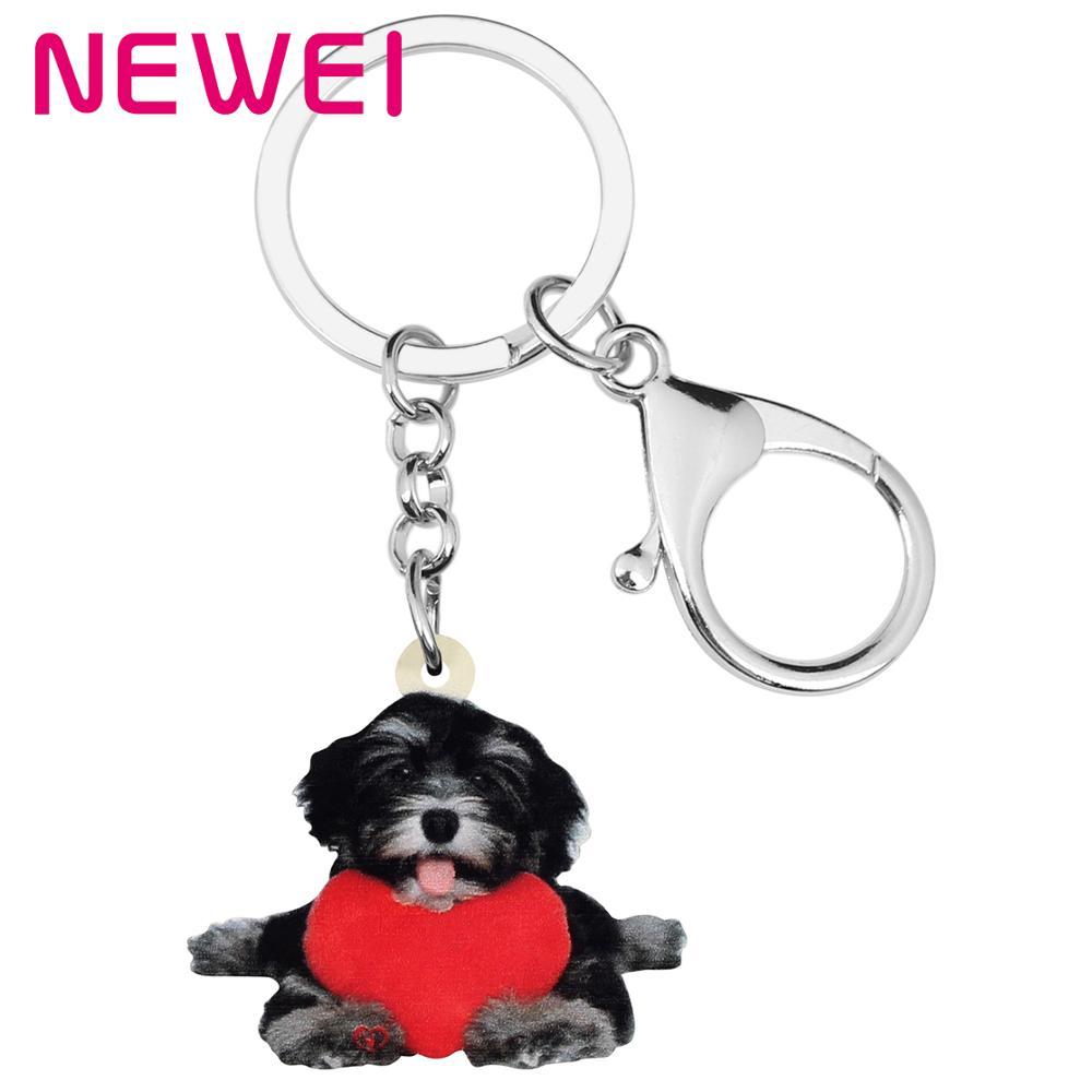 NEWEI acrílico Día de San Valentín amor corazón Schnauzer perro llavero anillos bolsa coche llavero para bolso para mujer chica adolescente hombre encanto regalo