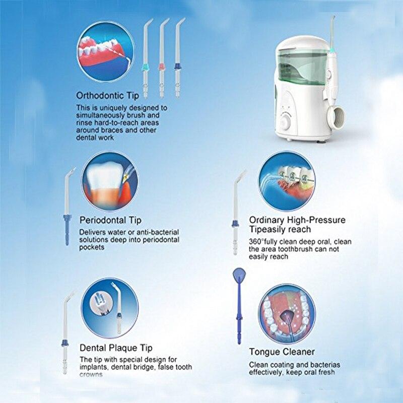 Nicefeel Water Flosser Electric  Countertop Oral Irrigator 600ML with 7 Tips for Braces Bridges  Care EU Plug enlarge