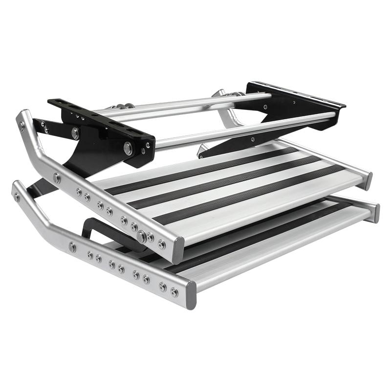 HEYRV  Anti-slip High Strength RV Manual Pull Out Steps Aluminum Caravan Double Steps RV Caravan Step enlarge