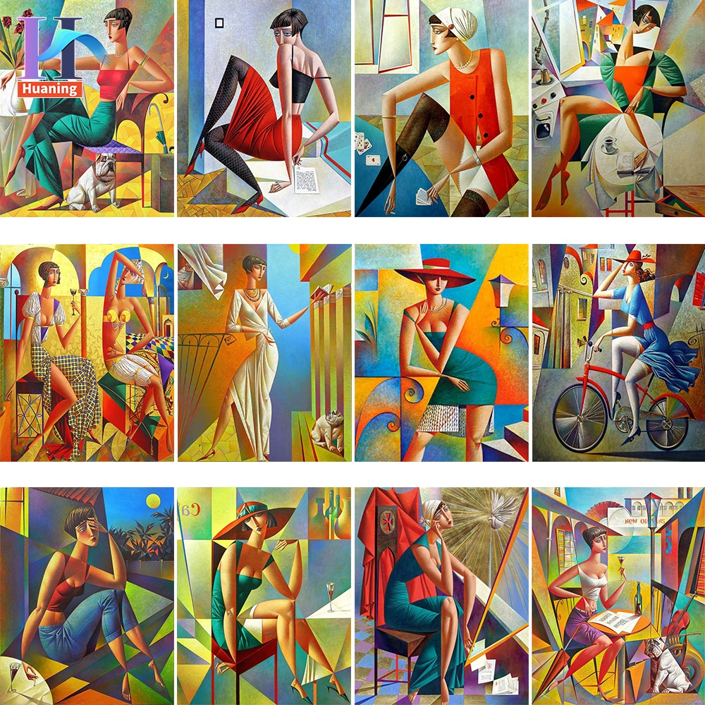 AliExpress - Diy Painting By Numbers Abstract Contemporary Cubist Painting Paint By Numbers For Adults  Artwork Van Gogh Style Drawing